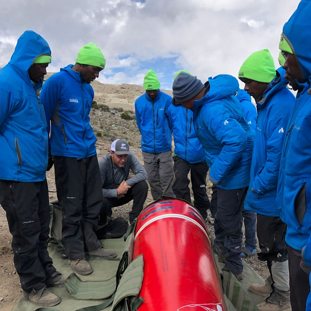 the best Kilimanjaro guides training with the portable altitude chamber on Mount Kilimanjaro