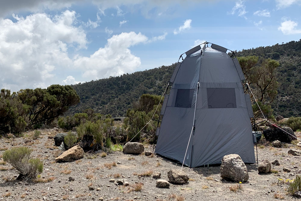 Barking Zebra's private hygienic toilet tents are located at all Kilimanjaro camps
