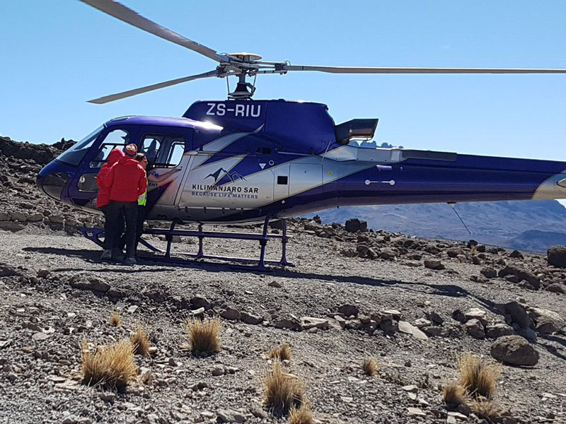 Helicopter evacuations are available for emergencies that take place en route to the Kilimanjaro summit