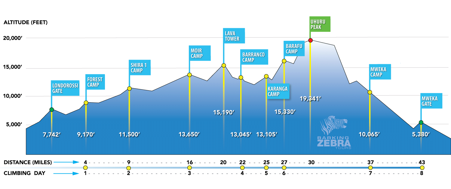 Lemosho Route Altitude Chart showing Mount Kilimanjaro height