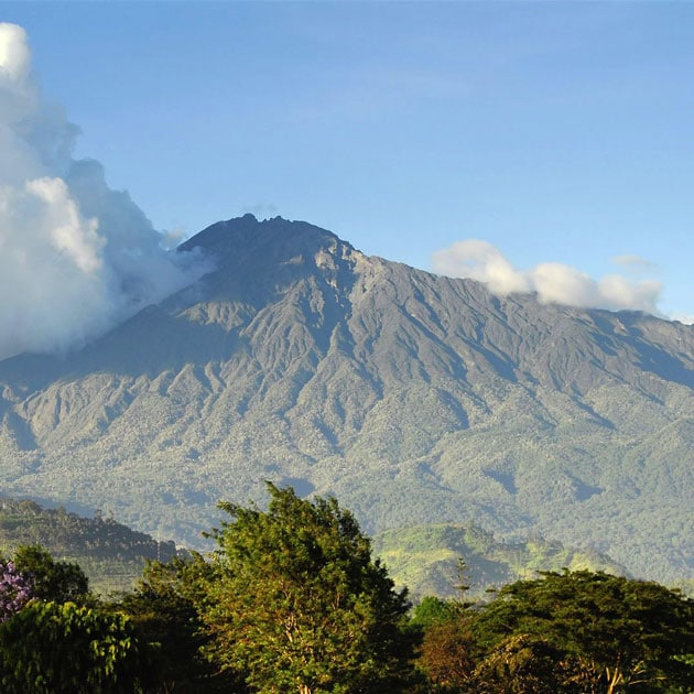 The view of Mount Meru from Arusha